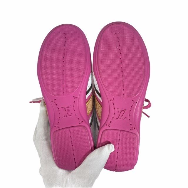 【美品】LOUIS VUITTON ルイヴィトン スニーカー 靴 シューズ LVロゴ キッズ チルドレン ホワイト ピンク [サイズ 20 (約12cm)_画像7