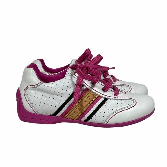 【美品】LOUIS VUITTON ルイヴィトン スニーカー 靴 シューズ LVロゴ キッズ チルドレン ホワイト ピンク [サイズ 20 (約12cm)_画像2