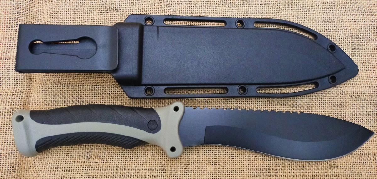 1818B★Columbia Saber 高品質シースナイフ ブラックラバーハンドル  ハードシース アウトドアナイフ サバイバル