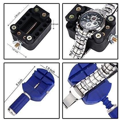 送料無料!☆ 時計修理工具147点セット 腕時計 ベルト調整 電池交換 精密ドライバー 専用収納ケース付き☆_画像3