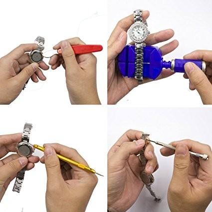 送料無料!☆ 時計修理工具147点セット 腕時計 ベルト調整 電池交換 精密ドライバー 専用収納ケース付き☆_画像6
