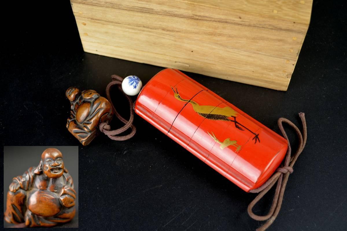 ■時代■鶴紋印籠・布袋木彫根付・堤物■木箱付■b