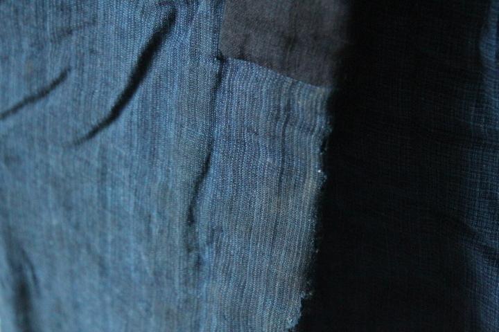 TB526木綿製 古布 半纏 藍染◇着物/和服/上着/時代/襤褸/古裂/リメイク素材/boro/裁縫/和裁/手芸/布地/古着/古民具/古道具タグボート_画像3
