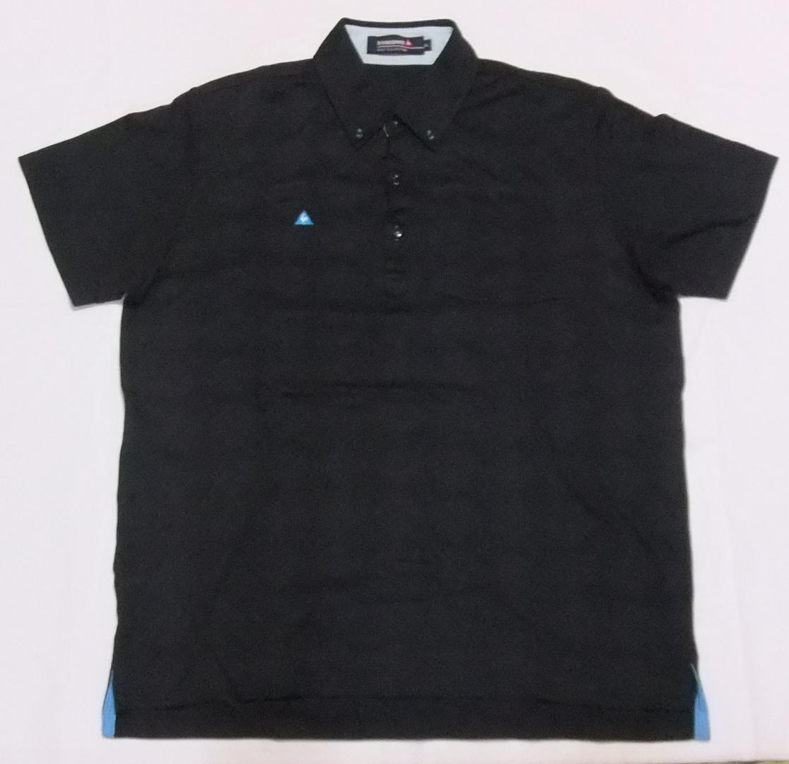 即決 送料無料 ルコック ゴルフコレクション ポロシャツ LL 黒 半袖 ゴルフウエア プルオーバー ボタンダウン 襟付き ボタンダウン メンズ_画像2
