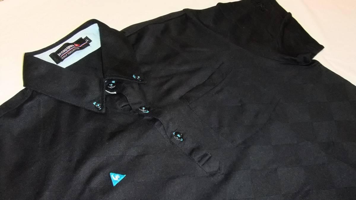 即決 送料無料 ルコック ゴルフコレクション ポロシャツ LL 黒 半袖 ゴルフウエア プルオーバー ボタンダウン 襟付き ボタンダウン メンズ_画像1