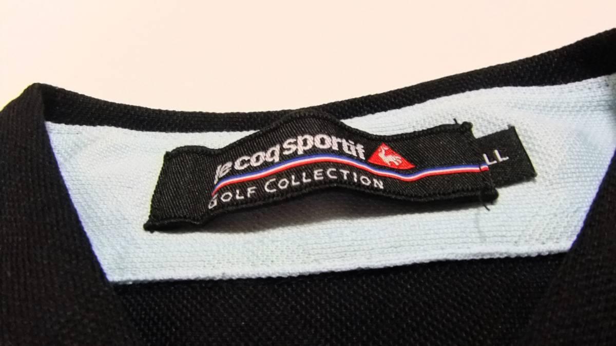 即決 送料無料 ルコック ゴルフコレクション ポロシャツ LL 黒 半袖 ゴルフウエア プルオーバー ボタンダウン 襟付き ボタンダウン メンズ_画像7