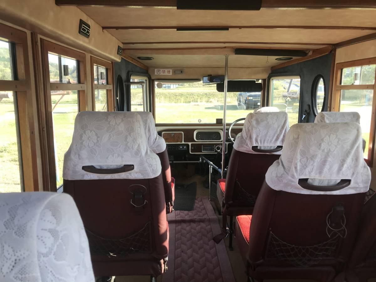 3日間だけ値引き【自由人養成スクール】個人出品!希少のアスキスボンネットバス 10人り普通免許 61395キロと走行少ないです。_内装お洒落なウッド