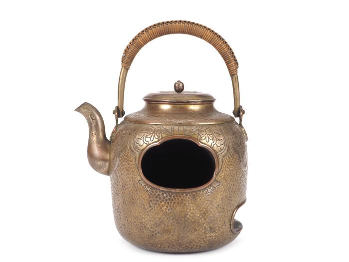 【夢工房】時代 銅製 野点具 酒器 野風炉 重さ494g   MA-485