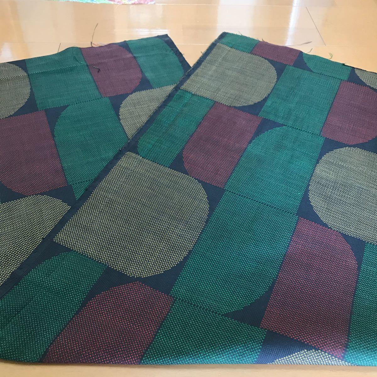★着物ハギレ 大島紬抽象 緑★  108着物リメイク 正絹 はぎれ 古布 昔