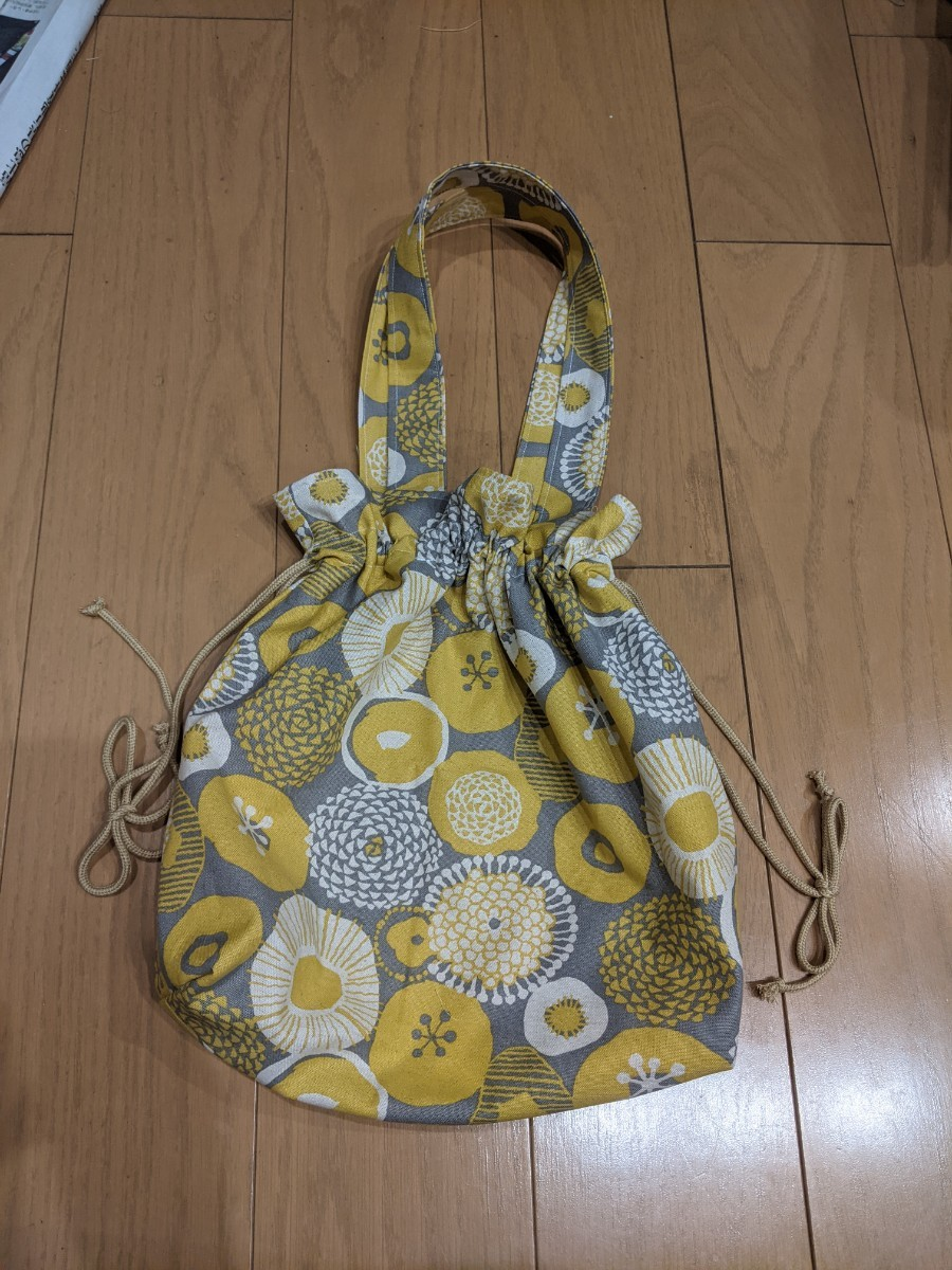 ハンドメイド 巾着型トートバッグ 花柄 巾着バッグ ミニトート