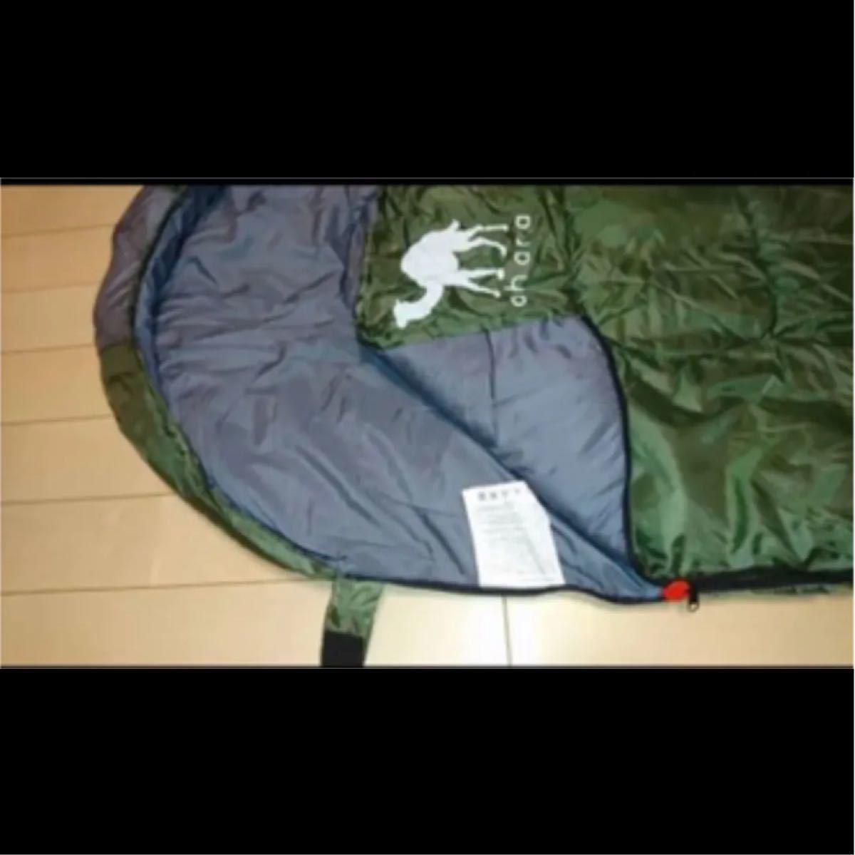 寝袋シュラフ 封筒型 丸洗い抗菌使用 最低使用温度-10°C ダークグリーン