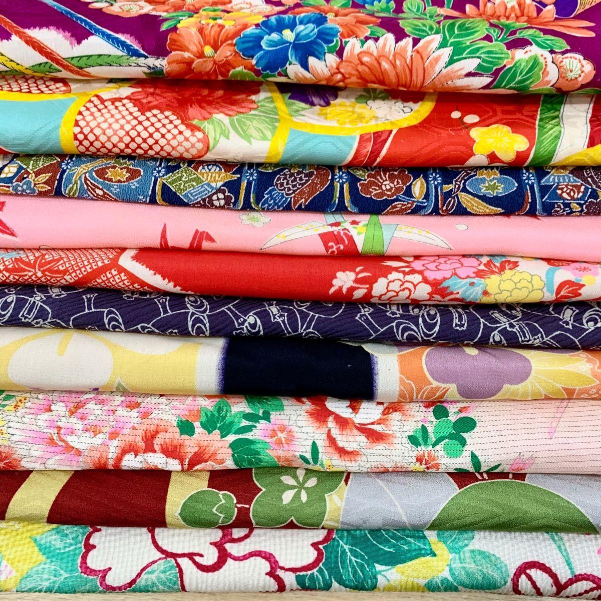 正絹 はぎれ 古布 10枚セット リメイク 材料 縮緬 絽 アンティーク
