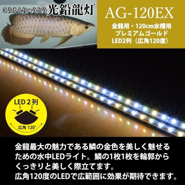 光鉛龍灯 アロワナ プレミアムゴールド LED 2列 大型水槽 水中照明 ライト アクアリウム 熱帯魚 金龍 120cm水槽用 でんらい AG-120EX_画像3