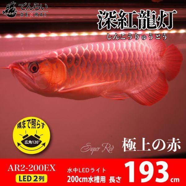 深紅龍灯 アロワナ レッド レベル2 LED 2列 大型水槽 水中照明 アロワナライト アクアリウム 熱帯魚 紅龍 200cm水槽用 でんらい AR2-200EX_画像1