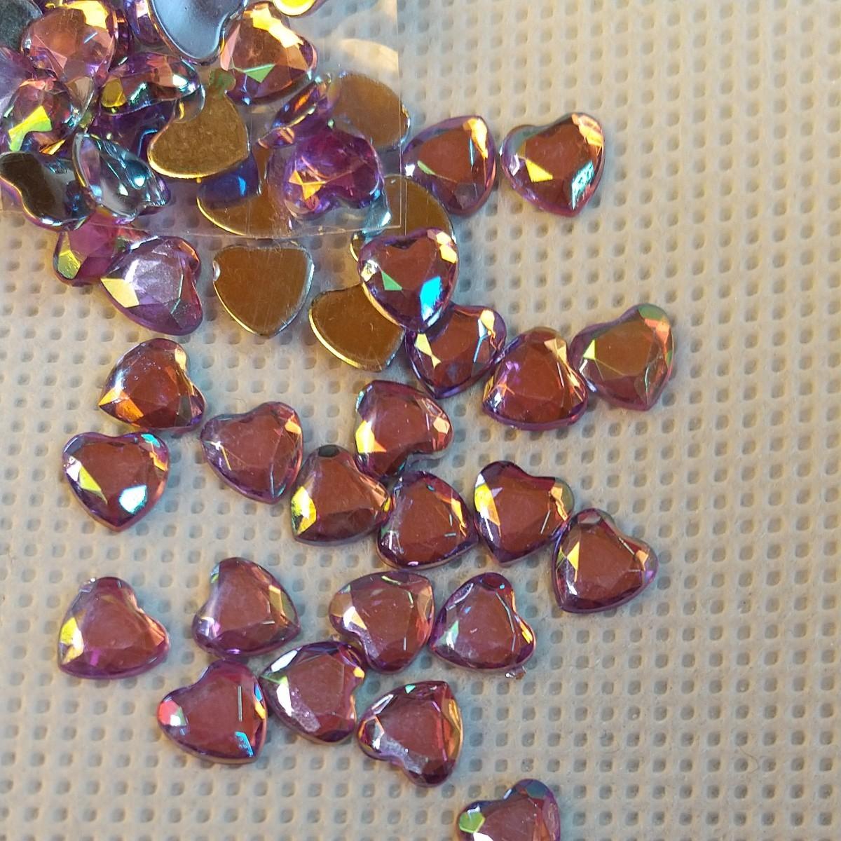ネイルアート、ハート、紫、160個