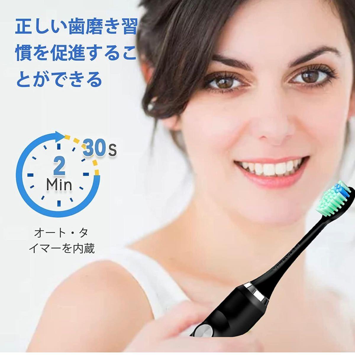 新品 電動歯ブラシ 音波歯ブラシ ソニック USB充電式 IPX7防水 替えブラシ5本