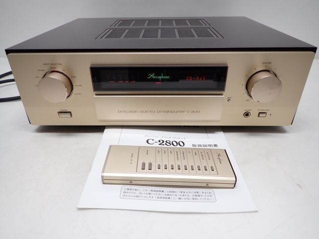 Accuphase C-2800 アキュフェーズ プリアンプ コントロールアンプ リモコン/説明書/元箱付 動作品 ♪ 5FF5A-1