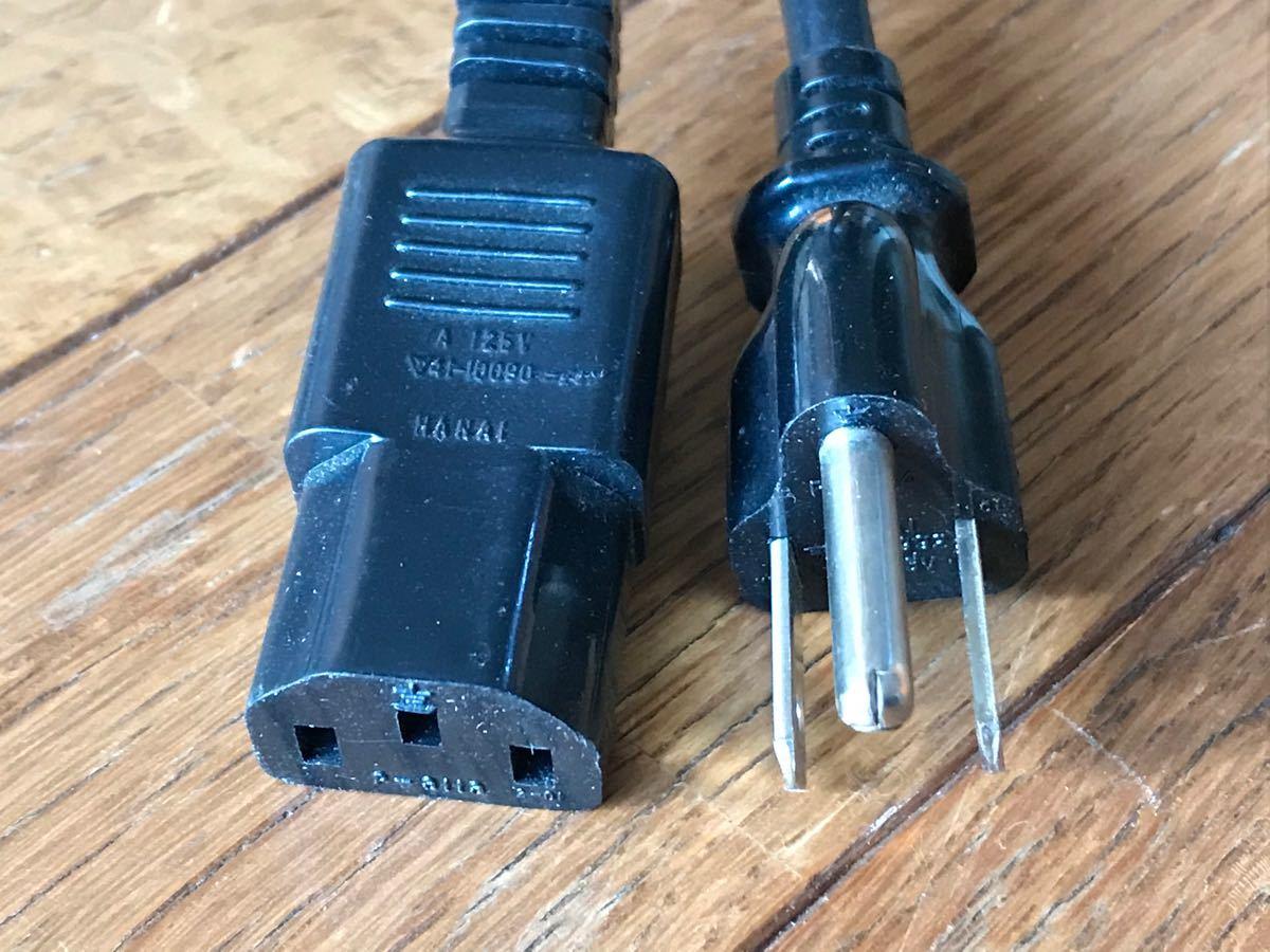 電源ケーブル 3ピンソケット(メス)-3ピンプラグ(オス) 黒 2.4m 電源ケーブル 3ピン