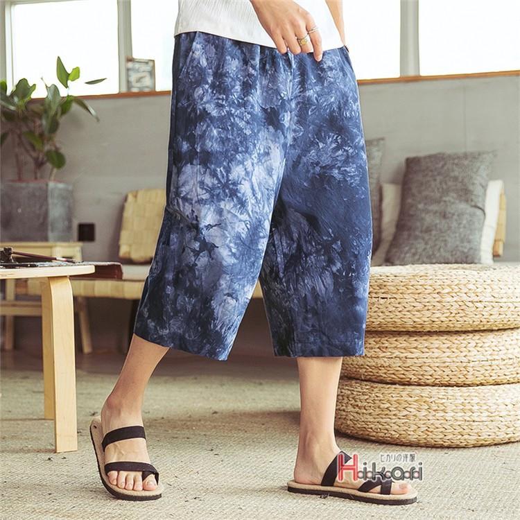 サルエルパンツ メンズ ワイドパンツ クロップドパンツ 七分丈 リネンパンツ メンズ サルエルパンツ 涼しいズボン 七分丈 ゆったり ワイ