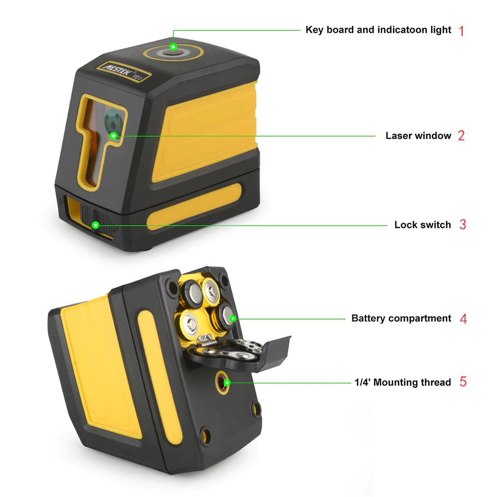 《最安新品・ブラケット付》デジタル測定器 レーザーレベル MESTEK 赤 クロスライン 防水 ポータブル 水平 垂直 ホームツール プロ仕様_画像7