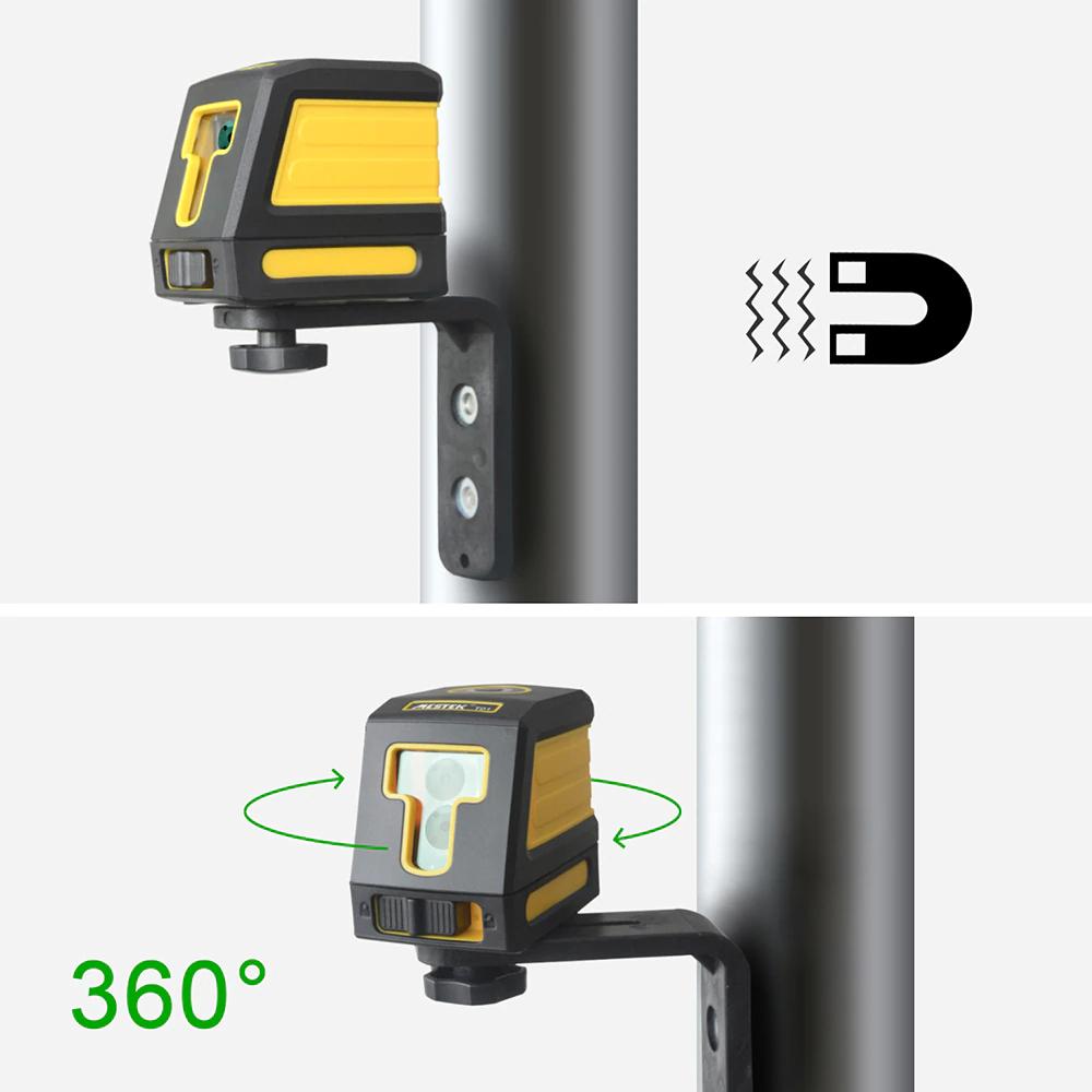 《最安新品・ブラケット付》デジタル測定器 レーザーレベル MESTEK 赤 クロスライン 防水 ポータブル 水平 垂直 ホームツール プロ仕様_画像5