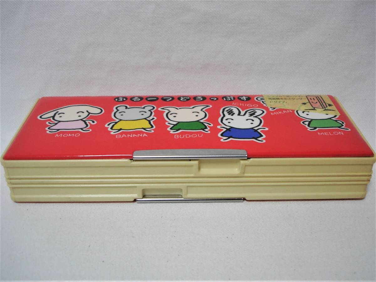 レトロ1980年代当時物・店舗デッドストック未使用品★ふるーつどろっぷす★両面開き・ペンケース筆箱/トンボ鉛筆・日本製_画像3