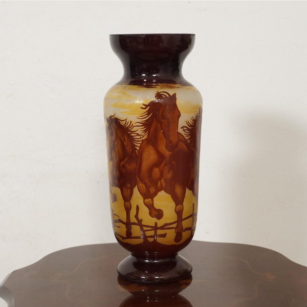 【証明書付】【希少】 エミールガレ 花瓶 高39cm 幅15cm カメオ彫り アンティーク 骨董 花瓶 フラワーベース シェード R0229_画像2