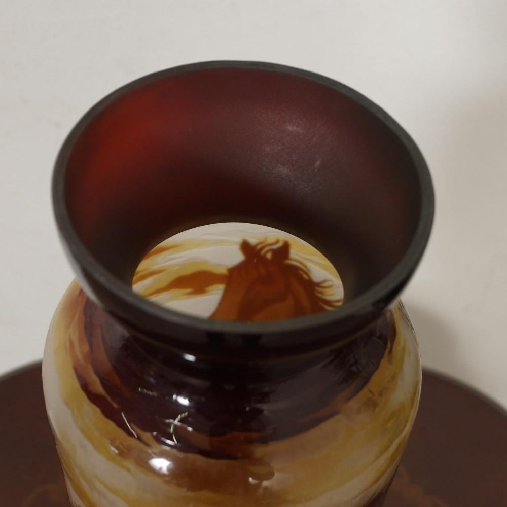【証明書付】【希少】 エミールガレ 花瓶 高39cm 幅15cm カメオ彫り アンティーク 骨董 花瓶 フラワーベース シェード R0229_画像6