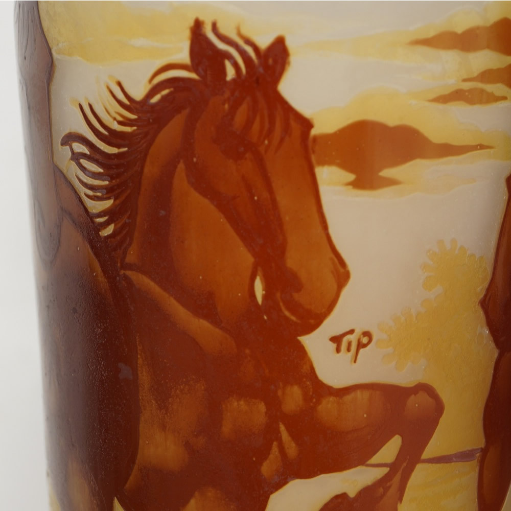 【証明書付】【希少】 エミールガレ 花瓶 高39cm 幅15cm カメオ彫り アンティーク 骨董 花瓶 フラワーベース シェード R0229_画像3