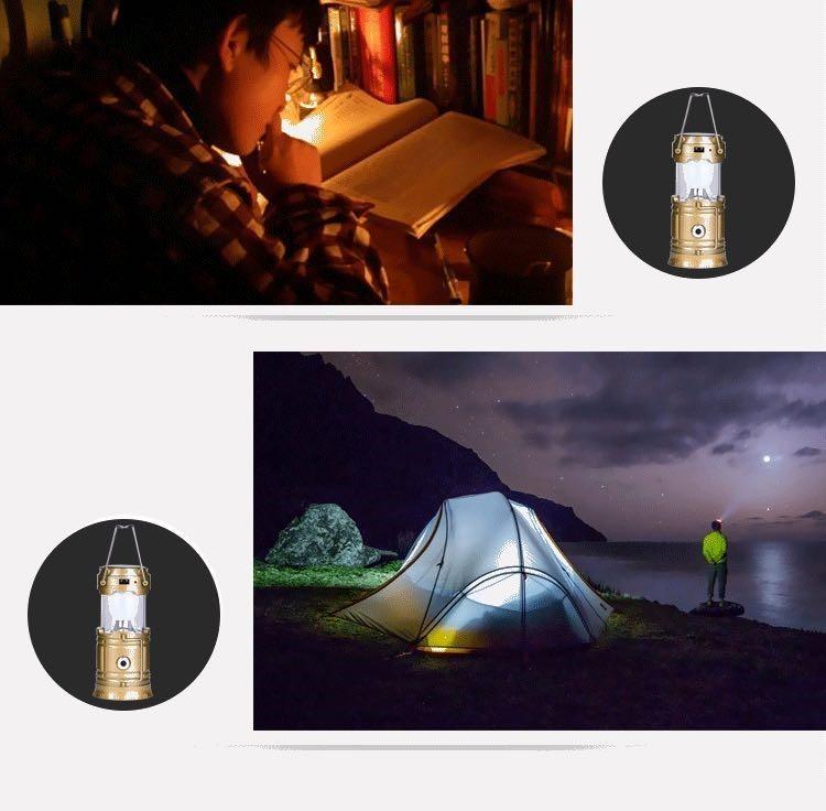 「ブラック」新品未使用LEDランタン懐中電灯 電池式 ソーラーパネル搭載 2in1給電方法 防災携帯式 スマホ充電可 登山/キャンプ