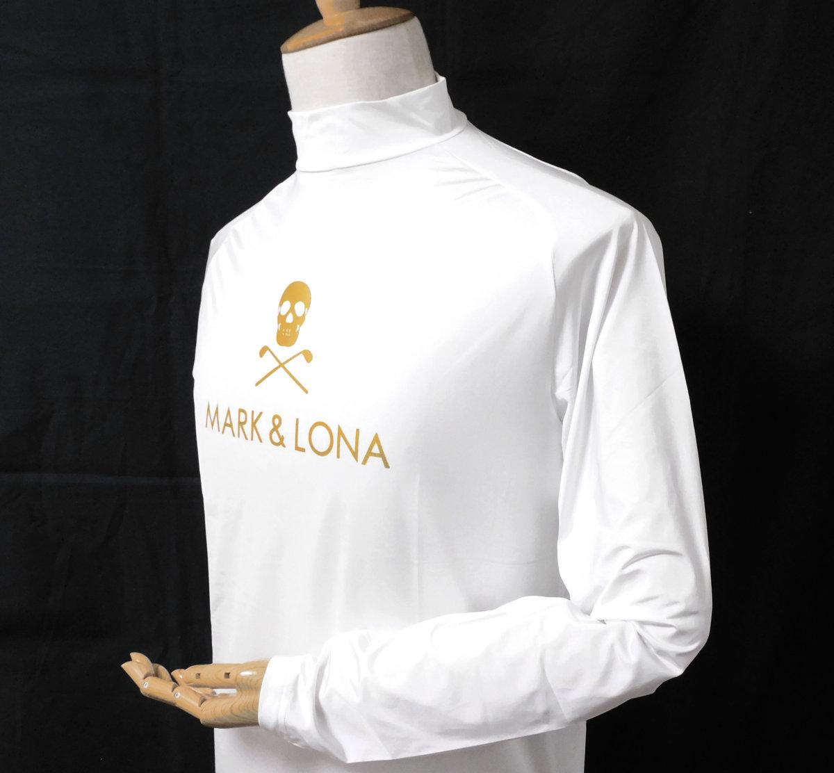 ◆マーク&ロナ◆長袖シャツ◆ホワイト◆Lサイズ◆スカル◆ストレッチ◆ゴルフウェア◆Tシャツ◆MARK&LONA◆
