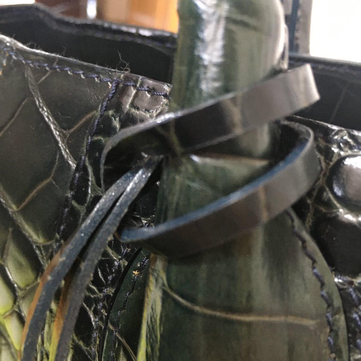 レザートートバッグ トートバッグ 肩掛け フルラ クロコダイル型押し ダークグリーン