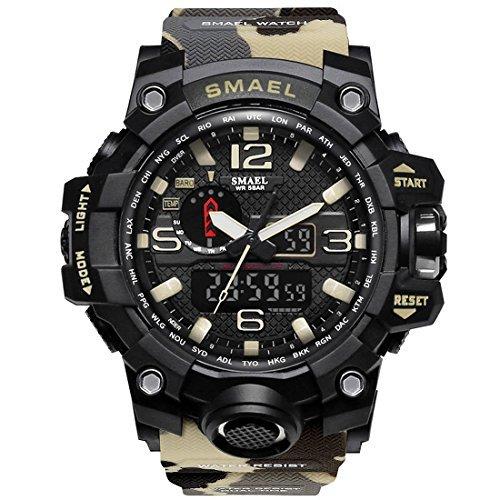 カーキ SMAEL ミリタリー 迷彩風 アナデジ 腕時計 メンズ 男性 アラーム クロノグラフ 多機能 スポーツ ウォッチ (カ_画像3