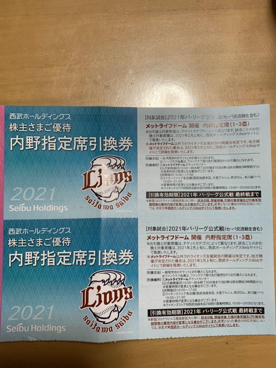 ☆★送料無料★☆西武ホールディングス★メットライフドーム内野指定席引換券5枚★_画像2