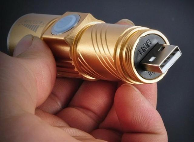 懐中電灯 led 強力 軍用USB充電式 防水 携帯 防災 ゴールド