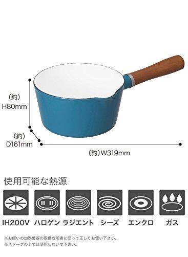 ターコイズ 16cm シービージャパン 片手鍋 ターコイズブルー IH対応 16cm ノルディカ ミルクパン ホーロー ALA_画像6