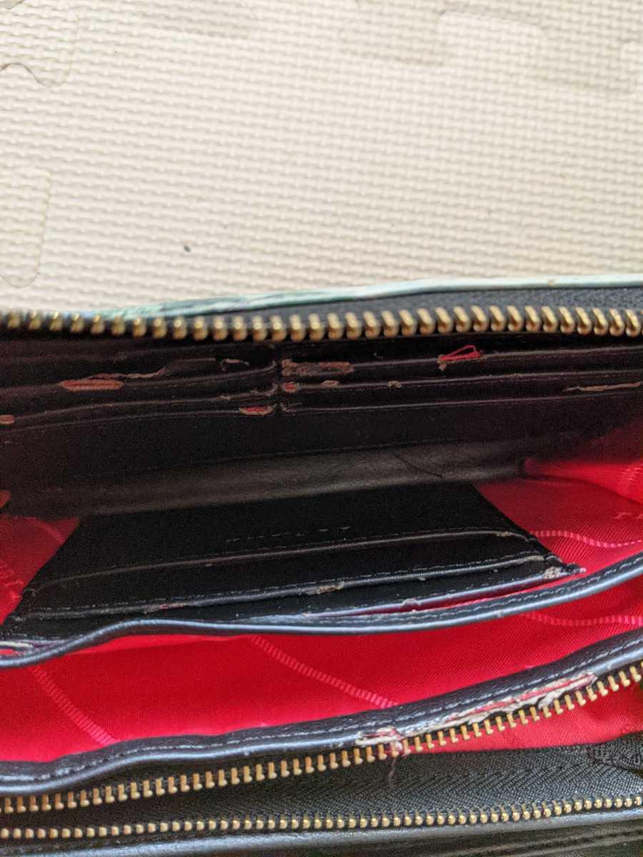 1円スタート! rienda ラウンドファスナー長財布 レディース 女性用 リメイク素材 劣化あり 返品不可 akichan7777jp_画像5