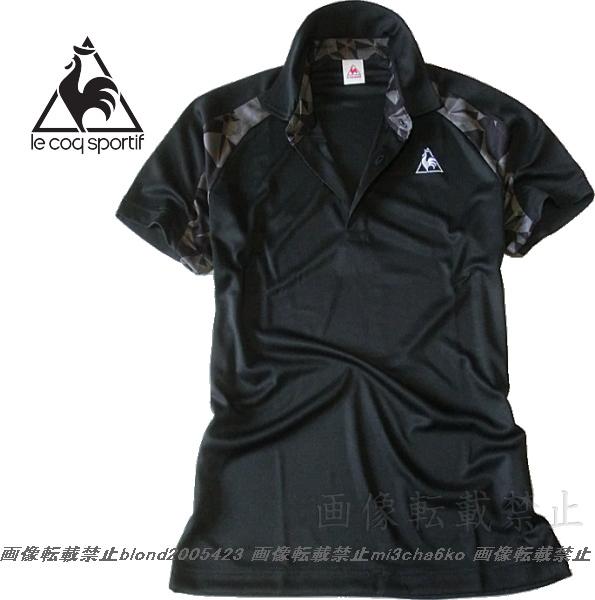 ■新品【le coq】ルコック左胸刺繍ロゴSUNSCREEN(-3℃クール)クーリングDRY高機能切替ポロ■BK/L_画像2