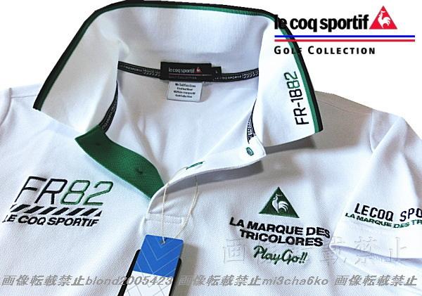 ■新品【le coq GOLF】ルコックゴルフ4点刺繍ロゴ吸汗速乾ストレッチポロシャツ■WH/LL(XL)_画像1