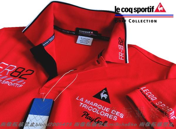 ■新品【le coq GOLF】ルコックゴルフ4点刺繍ロゴ吸汗速乾ストレッチポロシャツ■RD/L_画像3