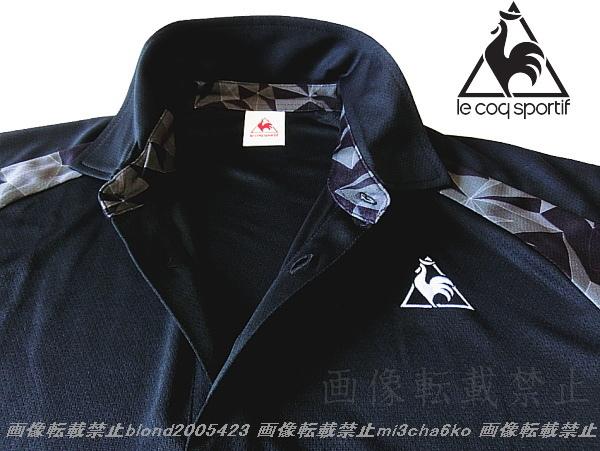 ■新品【le coq】ルコック左胸刺繍ロゴSUNSCREEN(-3℃クール)クーリングDRY高機能切替ポロ■BK/L_画像1