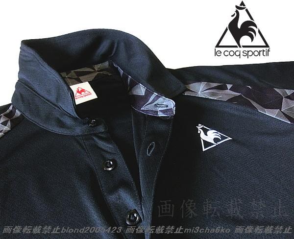 ■新品【le coq】ルコック左胸刺繍ロゴSUNSCREEN(-3℃クール)クーリングDRY高機能切替ポロ■BK/L_画像3