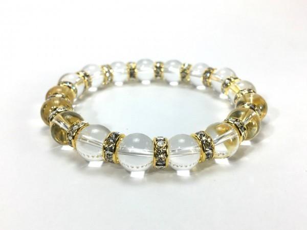 水晶 パワーストーン ブレスレット 天然石ブレス 10mm メンズ・レディース (ロンデル:ゴールド) 開運 浄化 数珠ブレス
