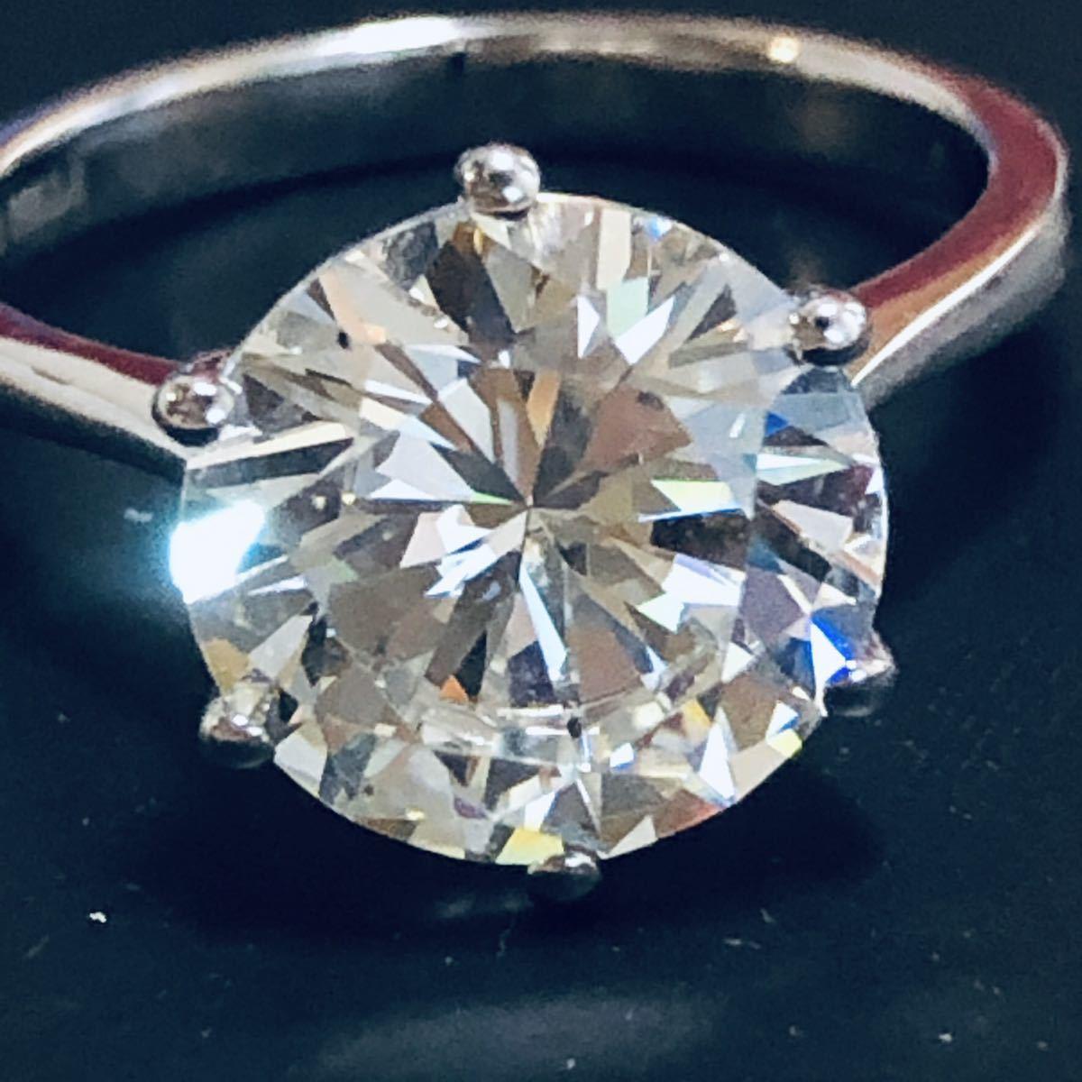 pt950 D4.00ct 刻印 約11号 ダイヤモンド リング 指輪 昭和レトロなアクセサリー 1円