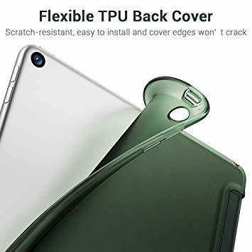 グリーン ESR iPad Mini 5 2019 ケース 薄型 PU レザー スマート カバー ソフト TPU 背面 ケース _画像2