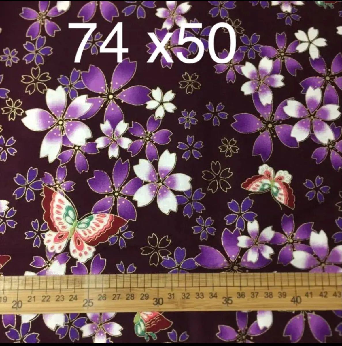 生地 ハギレ 和柄 桜と蝶  50cm 花柄 金糸プリント