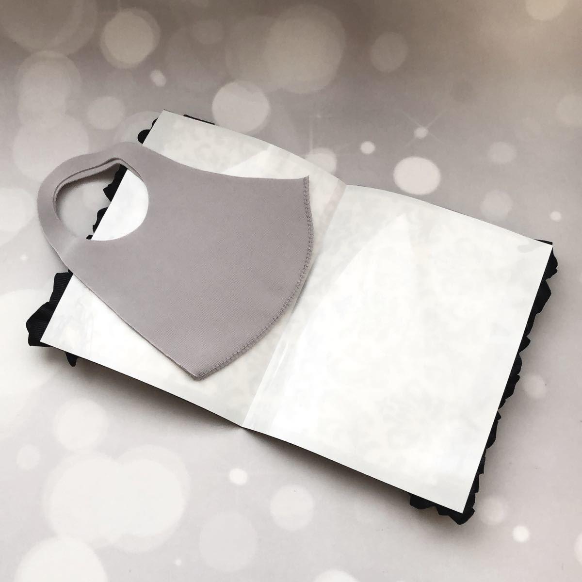 【立体マスク、ハンドメイドマスク、不織布マスク用】仮置きマスクケース フリルver.(ダマスク柄ホワイト&ブラック)