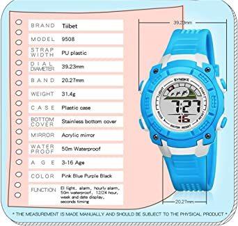 ブラック 子供腕時計防水led デジタル表示ライト付き アラーム ストップウォッチ機能 12/24時刻切替え多機能スポーツ腕時計_画像4