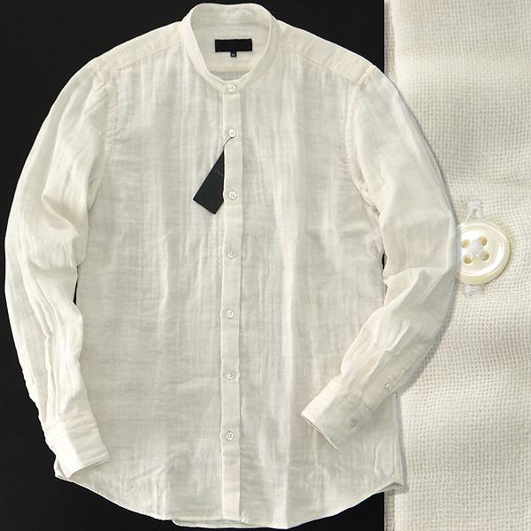 新品 1.9万 ダーバン 春夏 ダブルガーゼ バンドカラー シャツ M 白 【I48570】 メンズ 日本製 D'URBAN スタンドカラー サマー シャツ
