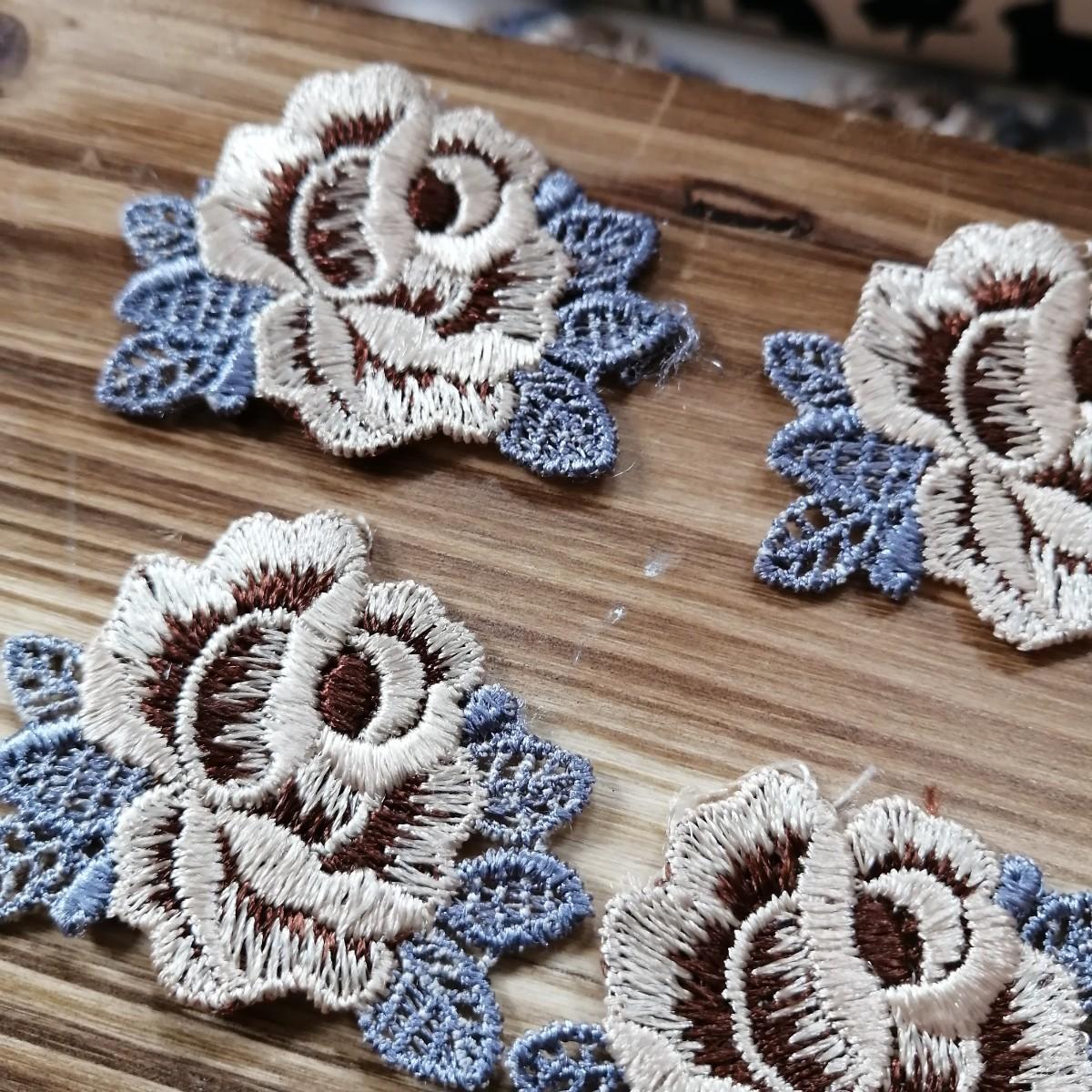 ハンドメイド ワッペン   刺繍 綺麗なワッベン 手作り 花モチーフ 薔薇 灰1